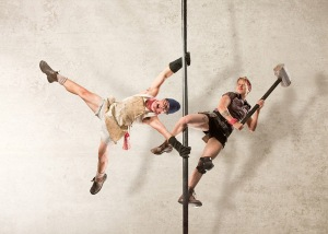"Stevee Mills and Jeremy Davies in Circus Oz's ""From the Ground Up."" Photo by Rob Blackburn"