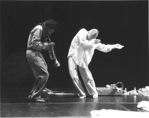 "Wadada Leo Smith and Oguri in ""Notaway: A Quest for Freedom."" Photo by Roger Burns."