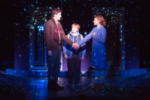 "Tim Martin Gleason, Joe West and Chandra Lee Schwartz in ""Sleepless in Seattle."" Photo by Jim Cox."