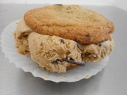 Coffee toffee with chocolate chip cookie ice cream sandwich at Milk